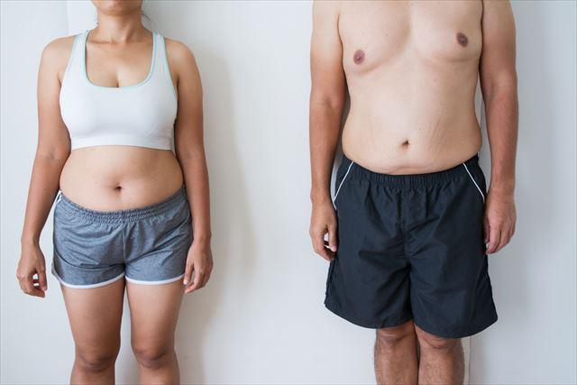 肥満体型の男女の画像